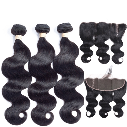 Body Wave HD Lace Frontal With Bundles 4PCS Human Hair Bundle With Frontal