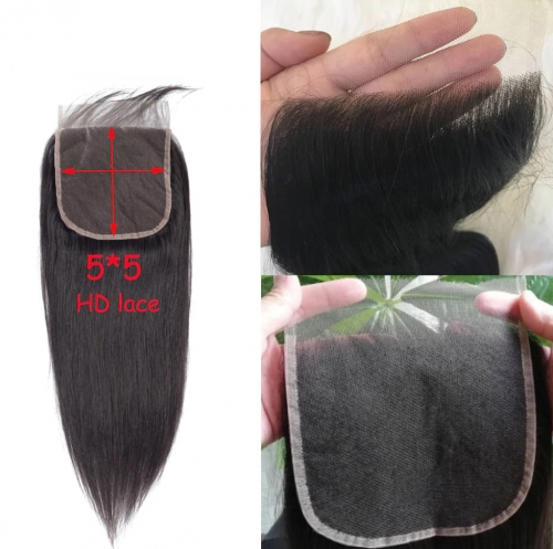 HD Lace 5X5 Straight 3 Bundles With Closure Human Hair Bundles With Closure Lace Closure Human Hair Extension