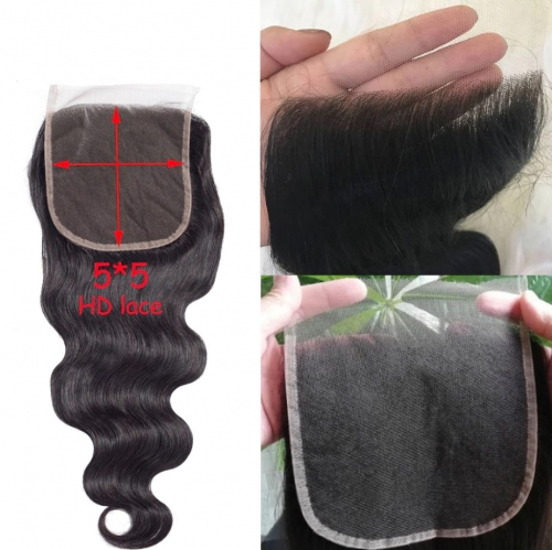 HD Lace 5X5 Body Wave 3 Bundles With Closure Human Hair Bundles With Closure Lace Closure Human Hair Extension